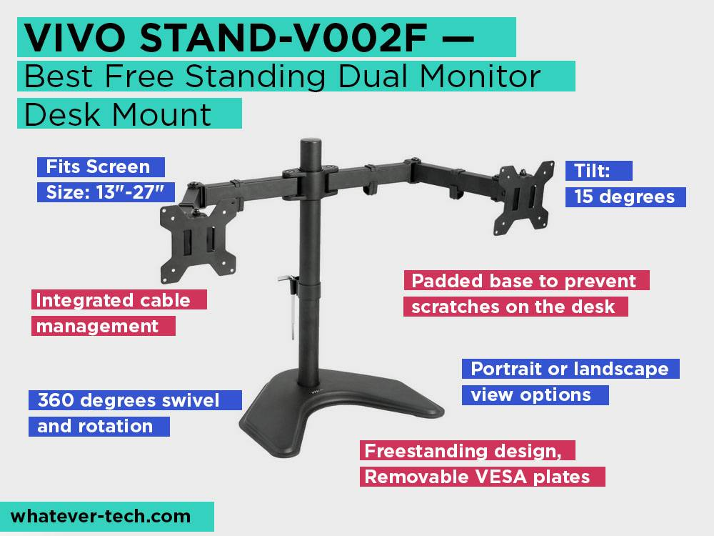 VIVO STAND-V002F Review, Pros and Cons. Check our Best Free Standing Dual Monitor Desk Mount 2018