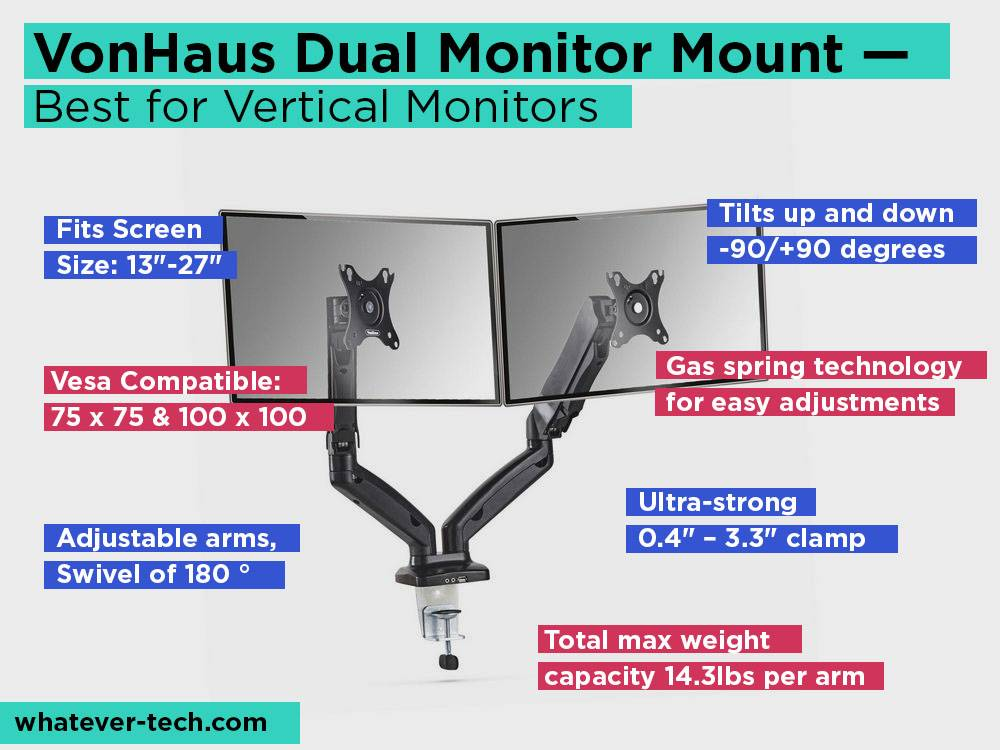 VonHaus Dual Monitor Mount Review, Pros and Cons. Check our Best for Vertical Monitors 2018