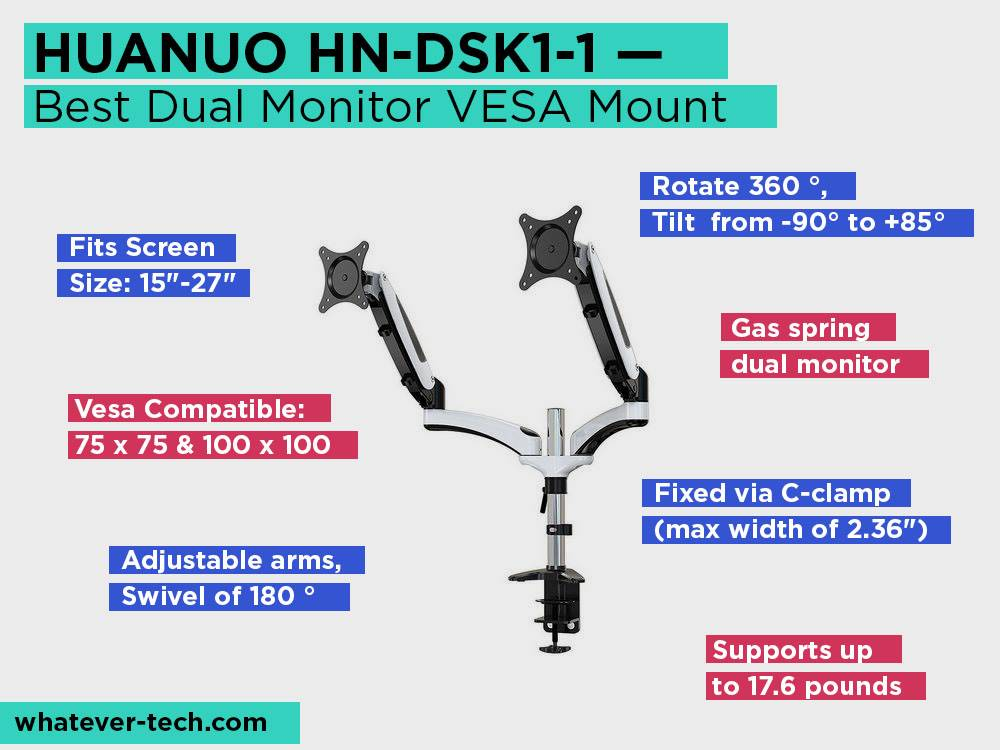 HUANUO HN-DSK1-1 Review, Pros and Cons. Check our Best Dual Monitor VESA Mount 2018