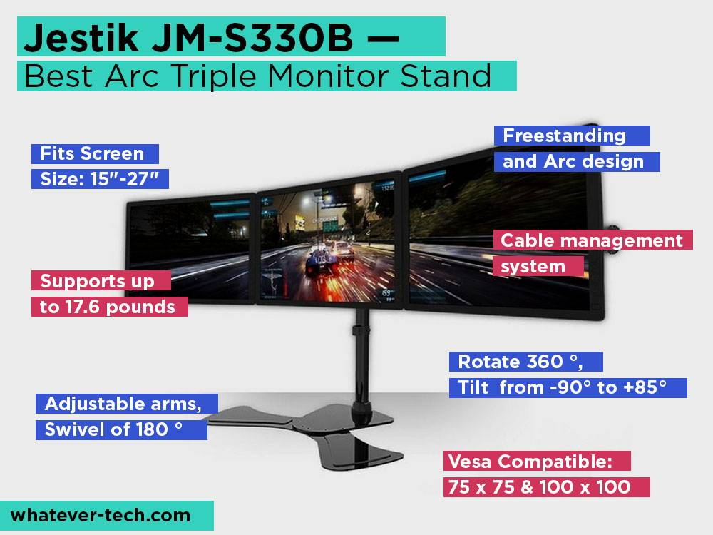 Jestik JM-S330B Review, Pros and Cons. Check our Best Arc Triple Monitor Stand 2018