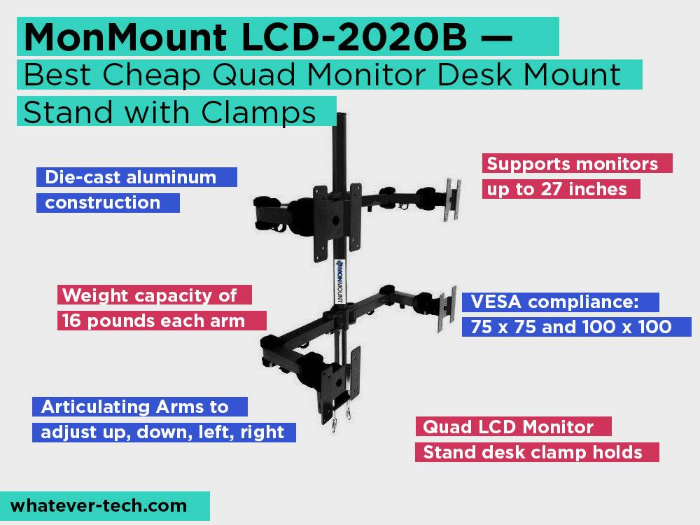 MonMount LCD-2020B Review, Pros and Cons. Check our Best Cheap Quad Monitor Desk Mount Stand with Clamps 2018