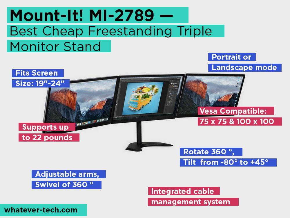 Mount-It! MI-2789 Review, Pros and Cons. Check our Best Cheap Freestanding Triple Monitor Stand 2018