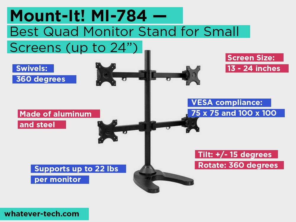 "Mount-It! MI-784 Review, Pros and Cons. Check our Best Quad Monitor Stand for Small Screens (up to 24"") 2018"