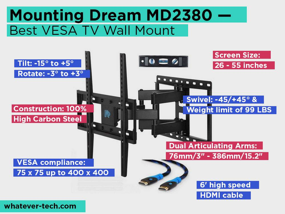 Mounting Dream MD2380 Review, Pros and Cons. Check our Best VESA TV Wall Mount 2018