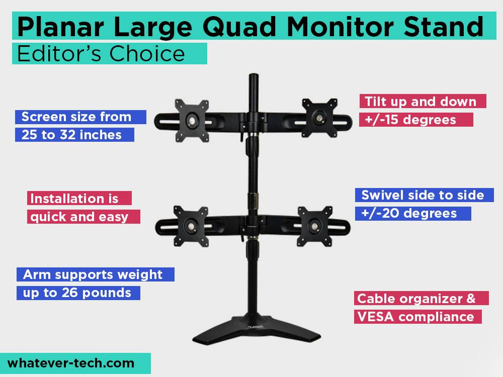 Planar Large Quad Monitor Stand Review, Pros and Cons. Check our Editor's Choice 2018