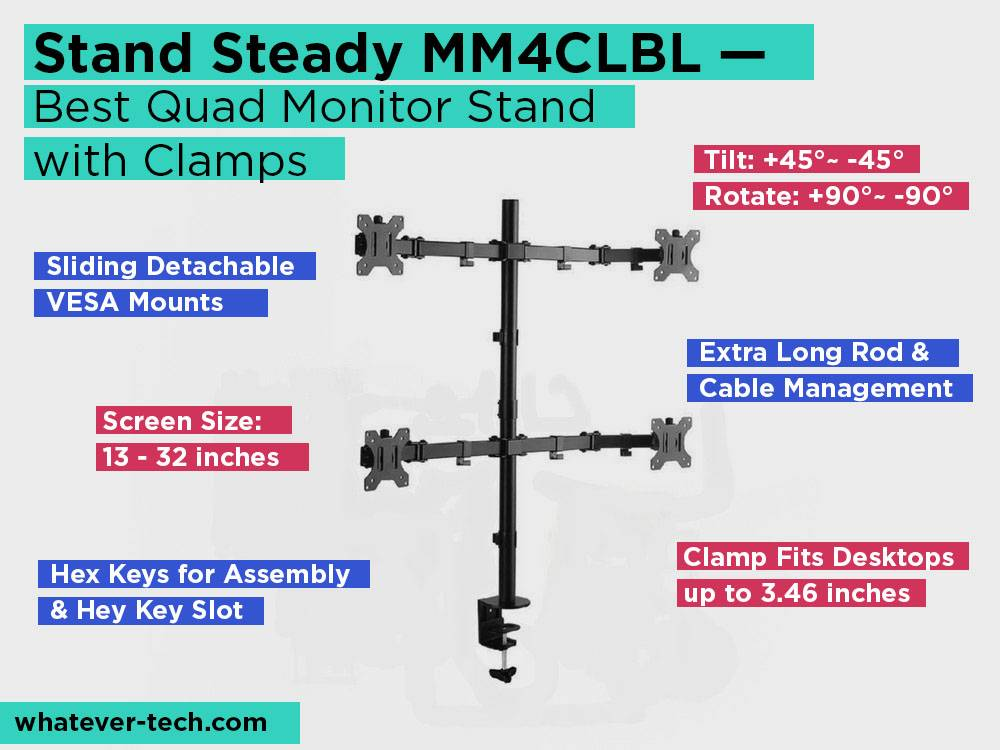 tand Steady MM4CLBL Review, Pros and Cons. Check our Best Quad Monitor Stand with Clamps 2018