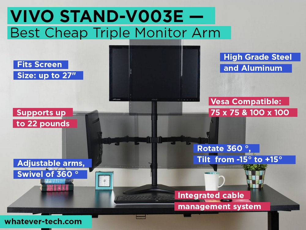 VIVO STAND-V003E Review, Pros and Cons. Check our Best Cheap Triple Monitor Arm 2018