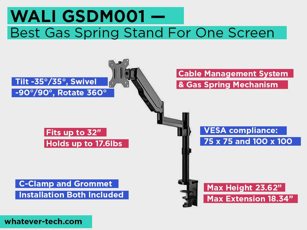 WALI GSDM001 Review, Pros and Cons. Check our Best Gas Spring Stand For One Screen 2018