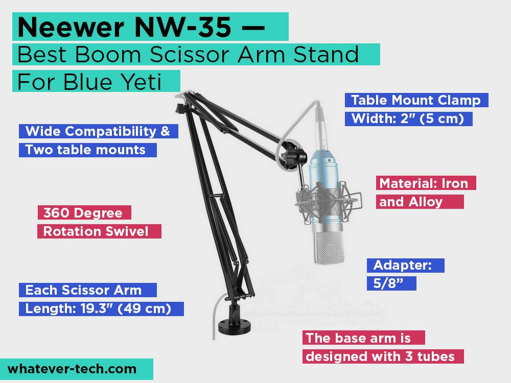 Neewer NW-35 Review, Pros and Cons. Check our Best Boom Scissor Arm Stand For Blue Yeti 2018