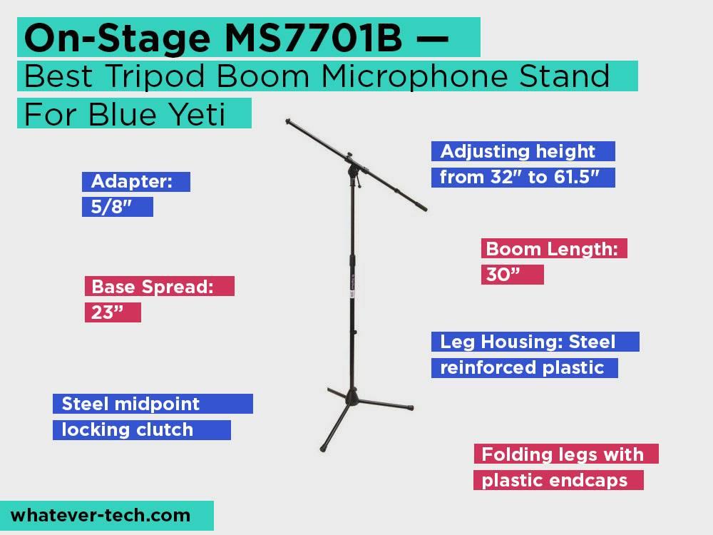 On-Stage MS7701B Review, Pros and Cons. Check our Best Tripod Boom Microphone Stand For Blue Yeti 2018