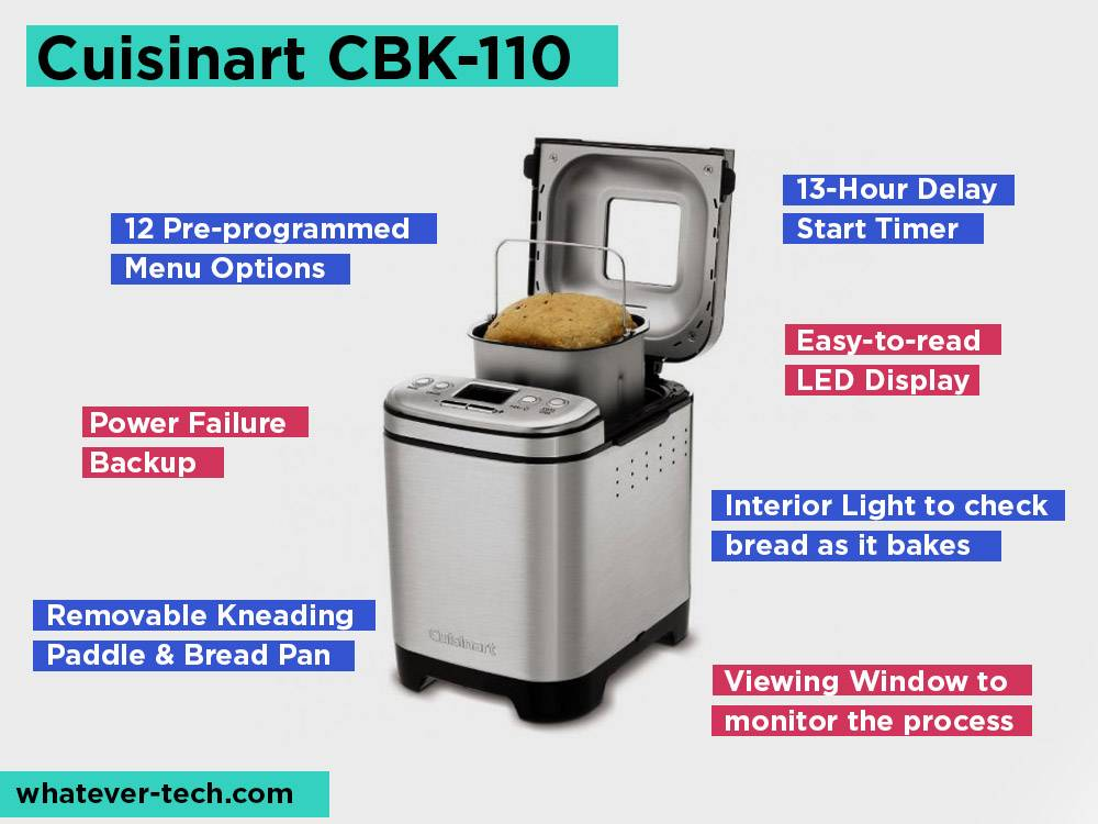 Cuisinart CBK-110 Review, Pros and Cons. Check our Best Bread Maker for Large Families 2019