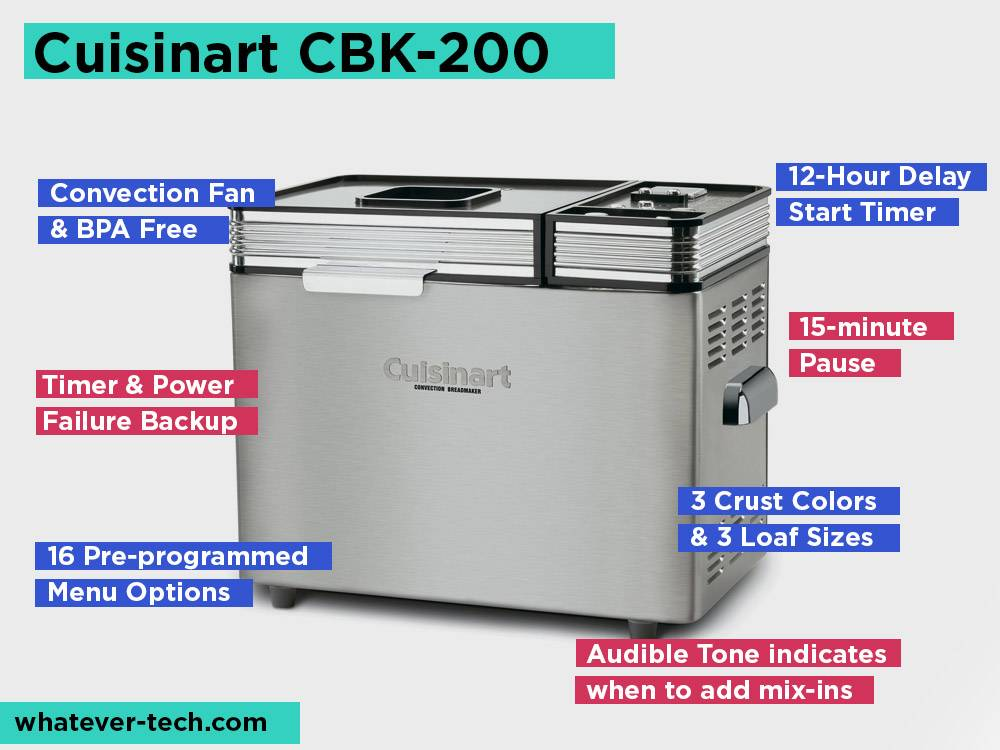Cuisinart CBK-200 Review, Pros and Cons. Check our Best Bread Machine for Specialty Doughs 2019