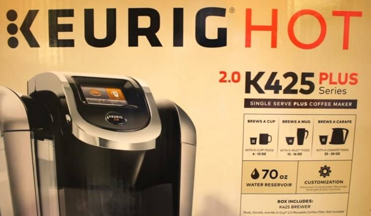 On the back on the box - Keurig K425 Plus Series Coffee Brewer
