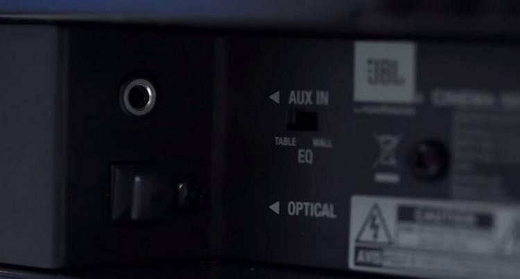 """JBL SB 200 has small slider switch """"EQ"""""""