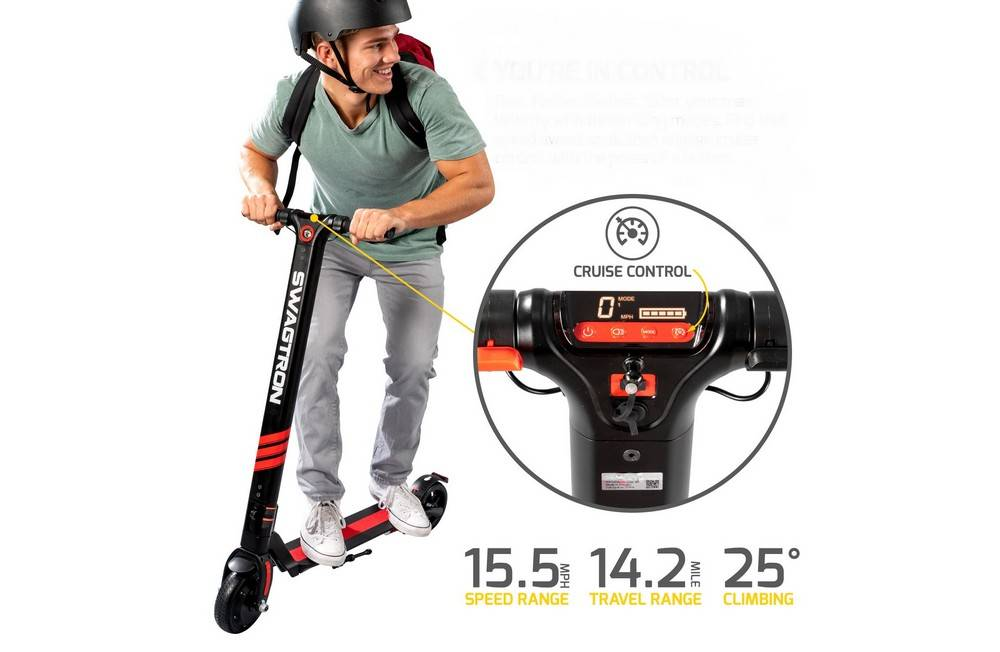 Swagtron SwaggerPro SG-3 has Button-Activated Cruise Control