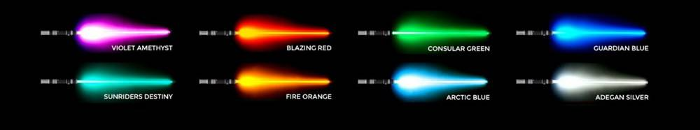 Available lightsaber blade colors