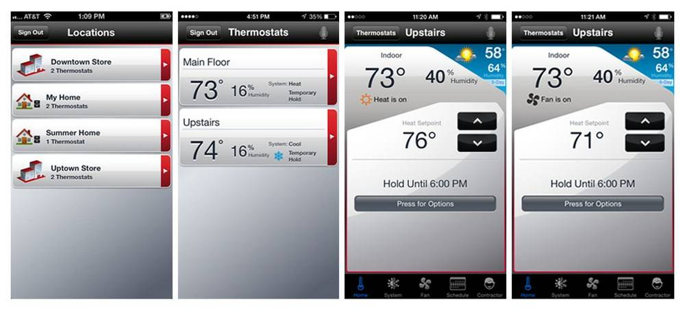Thermostats offer remote access through the Honeywell Total Comfort app