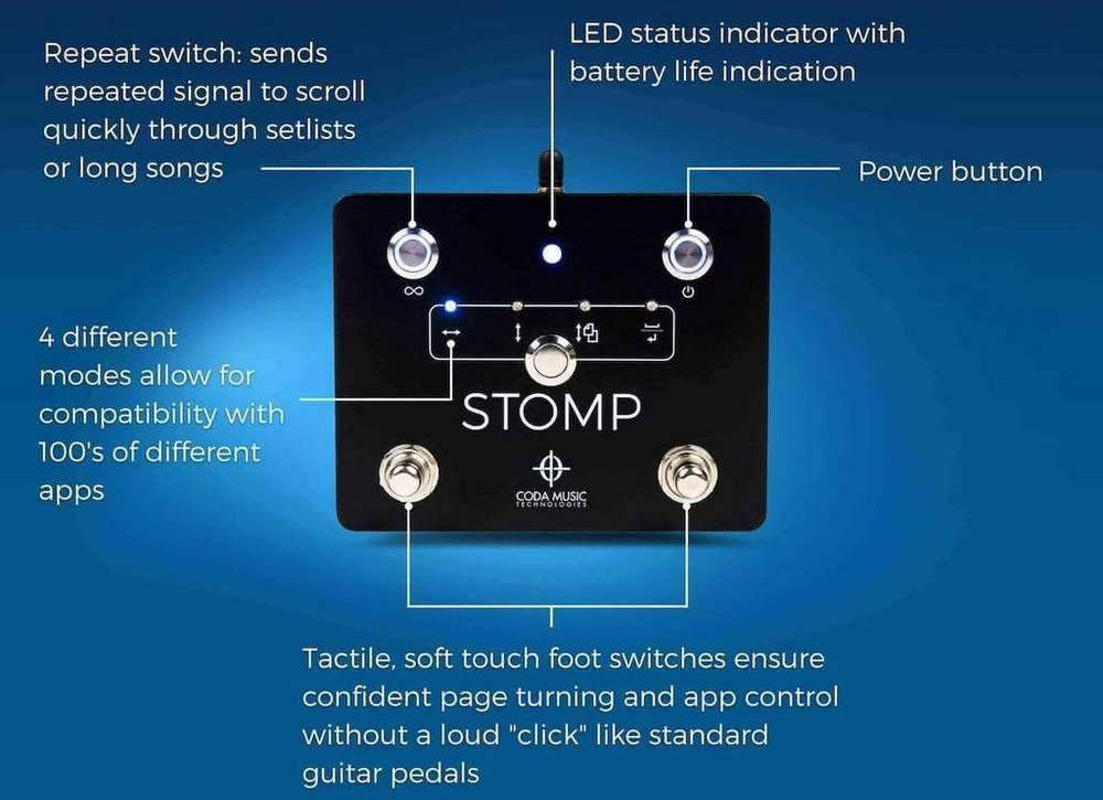 Coda Music TechnologiesSTOMP has the blue LED indicator lights