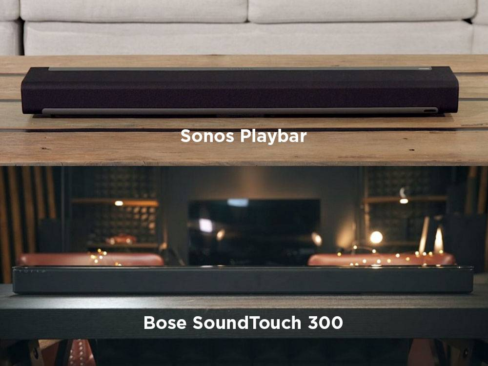 Sonos Playbar and Bose SoundTouch 300 come in dark gray and black finishes