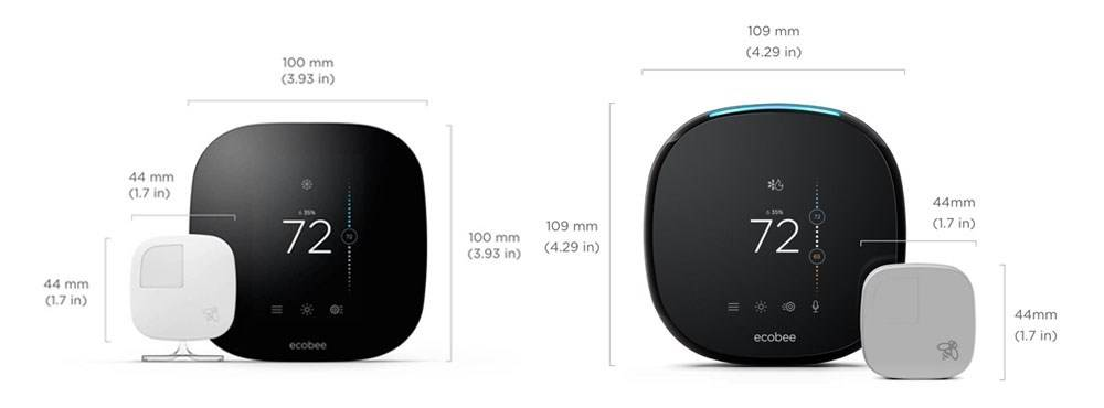 Dimensions of Ecobee 3 and Ecobee 4
