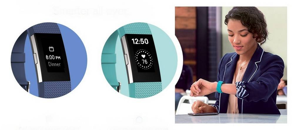 Fitbit FB407SBKL Charge 2 has Customizable Clock Faces, Call, Text & Calendar Alerts