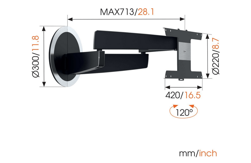 Vogel's NEXT 7346 smoothly moves your TV up to 120 degrees