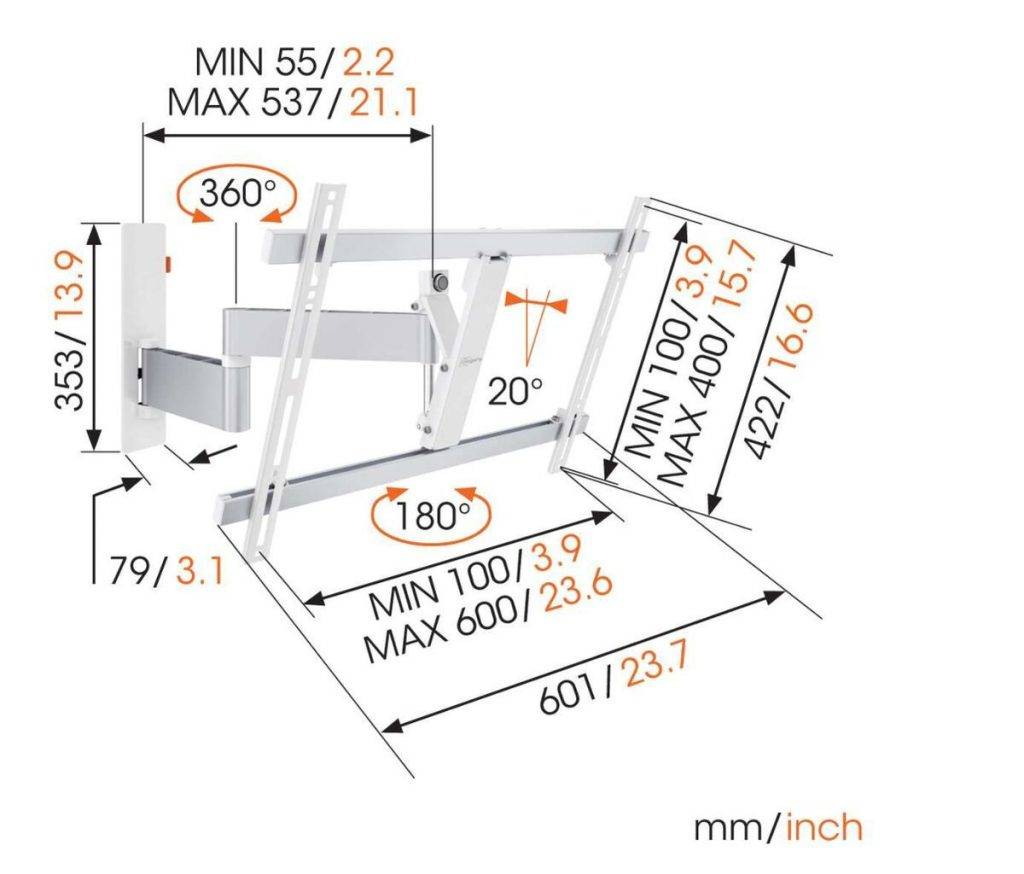 Vogels TV full motion wall mount: Dimensions