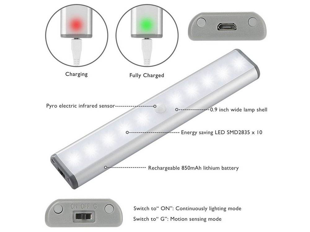 Motion Sensor Closet Lights has a 1000mAH Rechargeable Battery