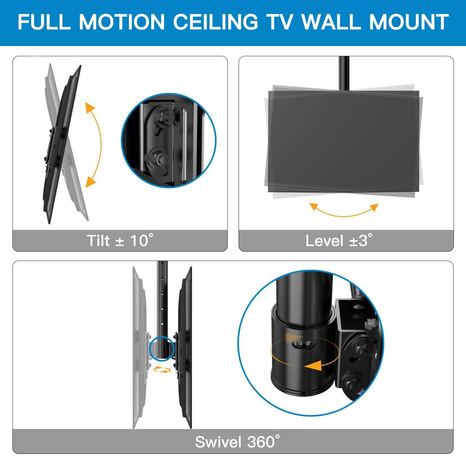 Ceiling TV Wall Mount - Full Rotation and Tilt