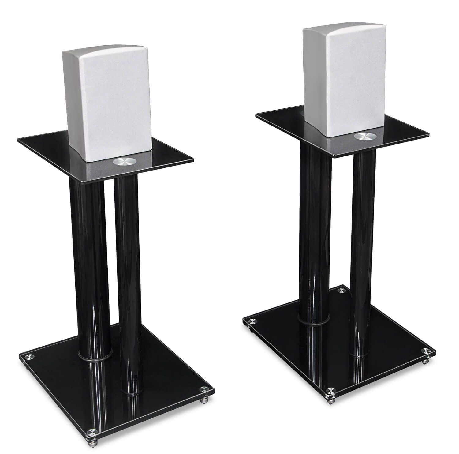 Speaker stands with aluminum or glass top plates