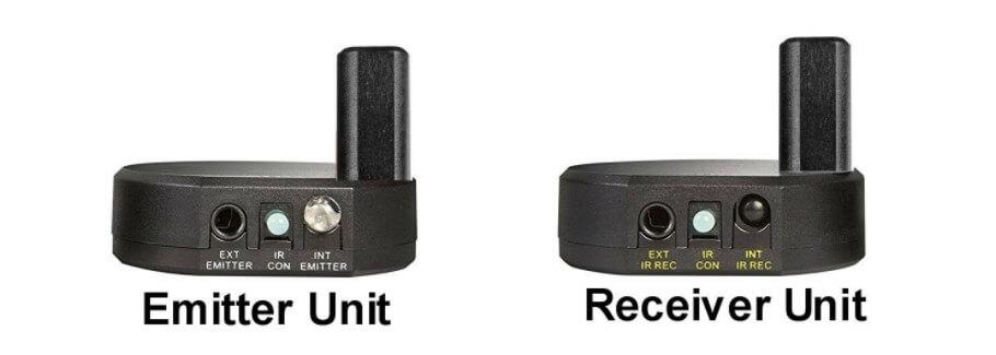 The IR receiver and IR emitter